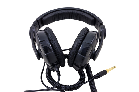 DJ equipment with black cable and golden jack photo