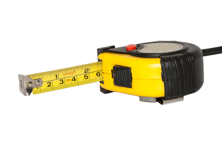 Measuring tool with dual scale  metric and imperial units  Stock Photo