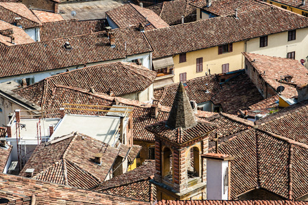 Views of buildings and rooftops of the old village in Italy Stock Photo