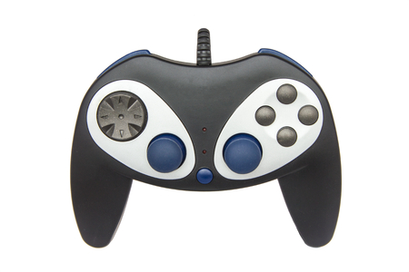 Black joystick of computer or video game on white