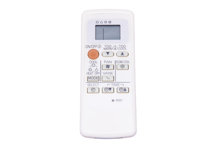 Remote control for air conditioner on white  Stock Photo