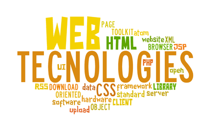Word Cloud Illustration of Web Technology on white Stock Illustration - 29124450