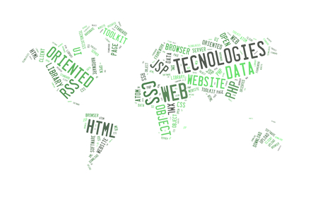 Word Cloud Illustration of Web Technology on white Stock Illustration - 29124457