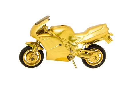A metallic motor-bike toy with black tyres