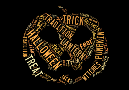 Halloween tag cloud in shape of pumpkin