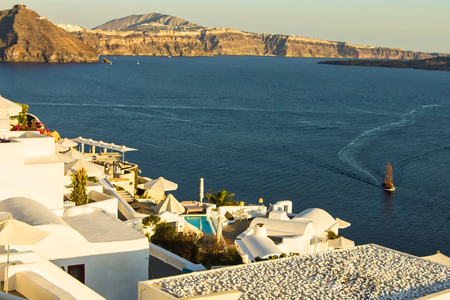 A tranquil panorama under the setting sun in the beautiful greek island