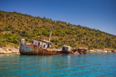 The shipwreck into Alonissos National Marine Park on August, 2016, Greece