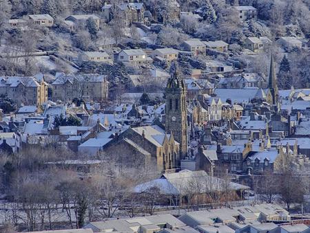 kirk: The Old Parish Kirk, Peebles in winter snow, Scotland