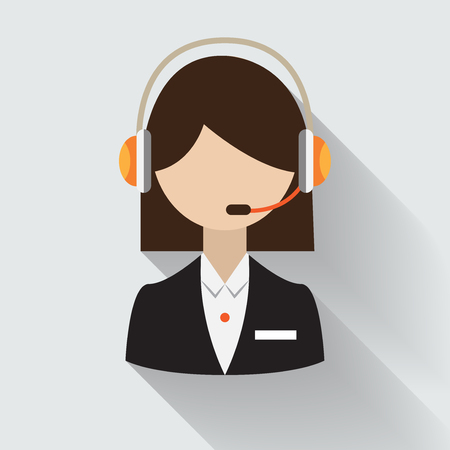 Female Short hair call center operator with headset, Support Services, Online Support Center, Flat Designed Vector Illustration