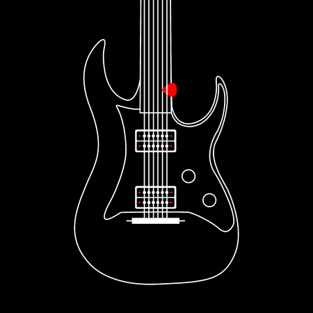 Creative designed of Flat Electric Guitar , Vector Illustrator eps10