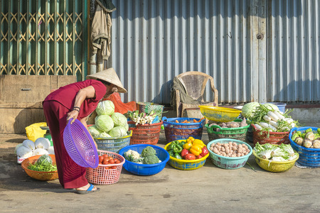 indigenous culture: HO CHI MINH CITY, VIETNAM - MAR 1: A vegetables and fruit shop on the street of HO Chi Minh City on Mar 1, 2014. Market on the street are an indigenous culture in Vietnam Editorial