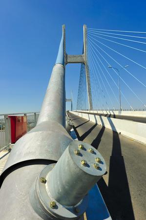 superstructure: Foundation pylon and suspender cable of suspension bridge