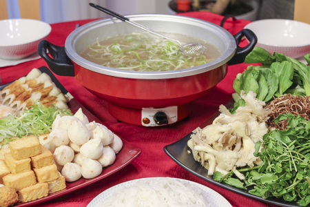 hot pot: Vietnamese Traditional Food: hot pot with seafood and vegetable Stock Photo