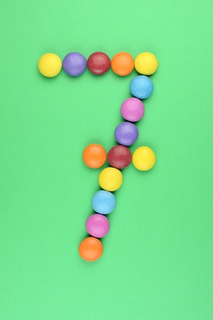 ferrous: number 7 constructed from ferrous bonbons Stock Photo