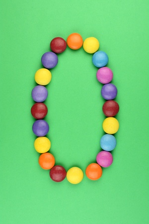 ferrous: 0 number consists of ferrous bonbons Stock Photo