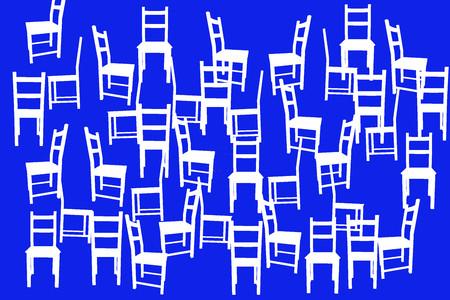 ilustration: Ilustration with white chairs like background Stock Photo
