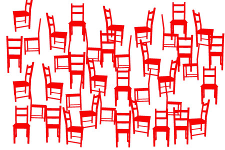 ilustration: Ilustration with red chairs like background