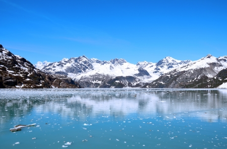 Glacier bay in a sunny day with a blue sky