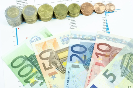 Euro coins making a scale and 5, 10, 20, 50 and 100 euro banknotes composition with some figures and trends in the background 免版税图像