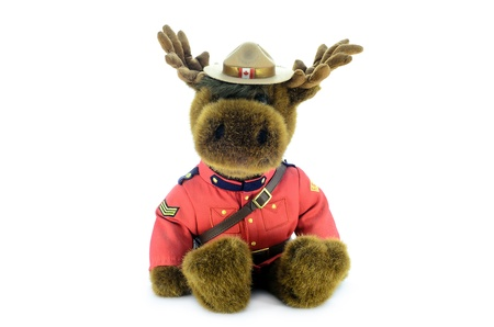 Royal Canadian Mounted Police Moose Soft Toy face closeup isolated