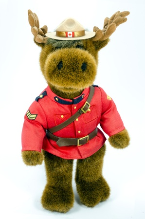 Royal Canadian Mounted Police Moose Soft Toy standing isolated 新闻类图片