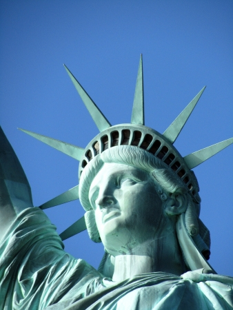 liberty statue: Statue of Liberty face closeup Stock Photo