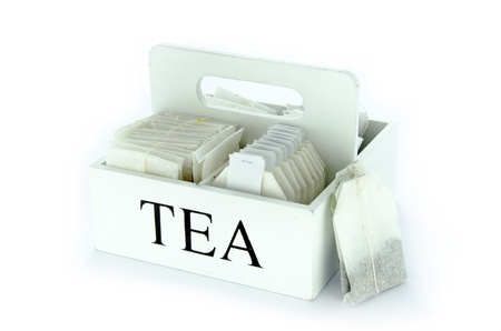 Set of tea bags isolated on white