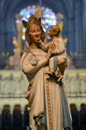 christmas spirit: Unique smiling Virgin at the Cathedral of Toledo in Spain