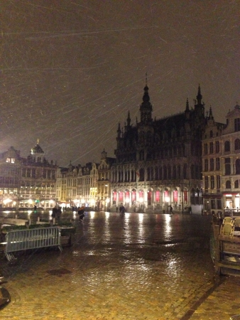 Windy and snowy night in Brussels 免版税图像