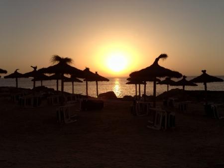 Sunset in the beach 免版税图像