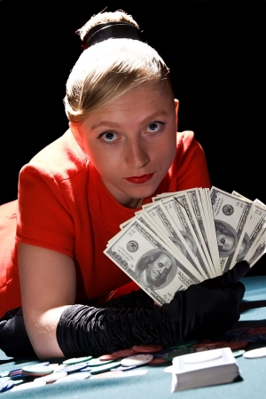 blondy: Young blondy woman holding large sum of dollar cash