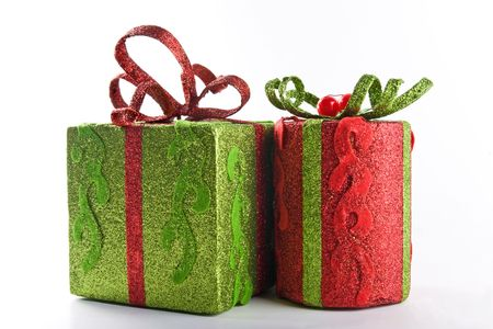 Two different wrapped gift boxes on white background photo