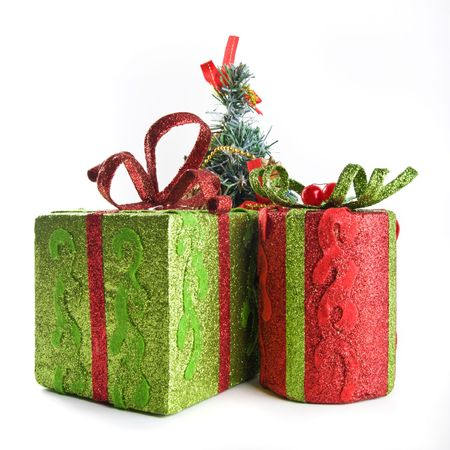 Two Sparkling Gift Boxes And Small Decorative Fur Tree Stock Photo New Small Decorative Gift Boxes