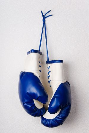 White-and-blue boxing gloves hanging on a white wall