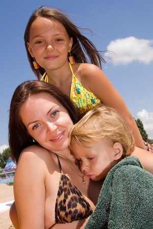 Mom and her little children on their vacation Stock Photo - 7336149