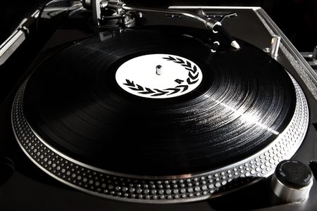 turntable: Professional analog djing equipment playing the music