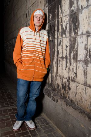 Street gang member on the street at night photo