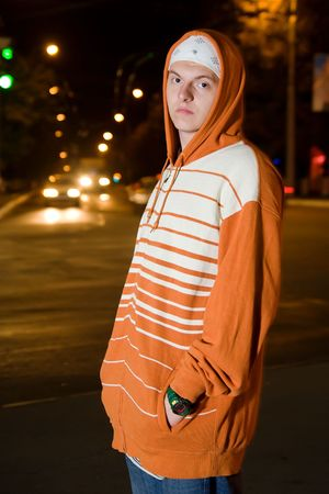 Street gang member on the street at night Stock Photo - 7828027