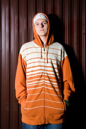 Young criminal posing outdoors at night Stock Photo - 7828048
