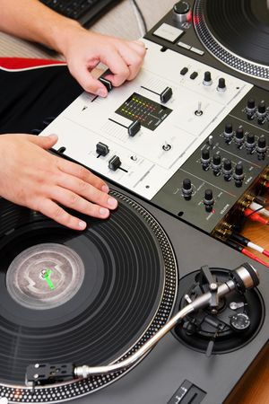 regulators: Hands of a dj playing hip-hop Stock Photo