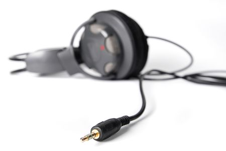 Pair of closed powerful stereo headphones on white background photo
