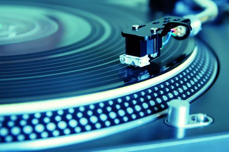 remix: Record player spinning the disc with music Stock Photo