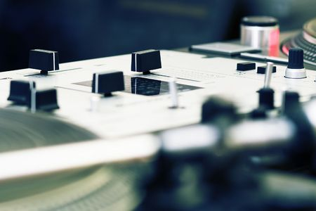 crossfader: Top audio equipment of a hip-hop scratch  Stock Photo