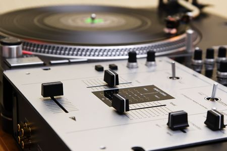 crossfader: Top audio equipment of a hip-hop scratch  Stock Photo