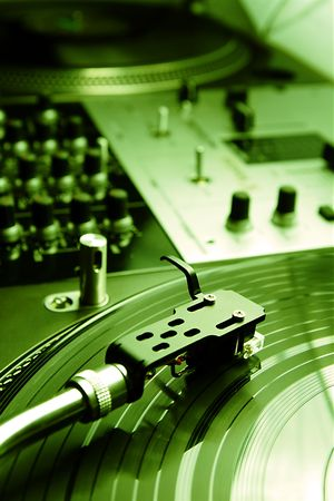 regulators: Close shot of top class vinyl equipment for a hip-hop scratch dj