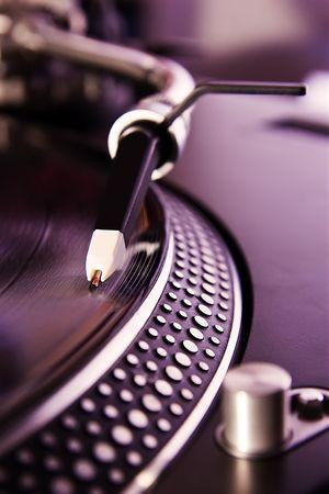 remix: Turntable playing vinyl record Stock Photo