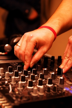 crossfader: DJ in the nightclub Stock Photo