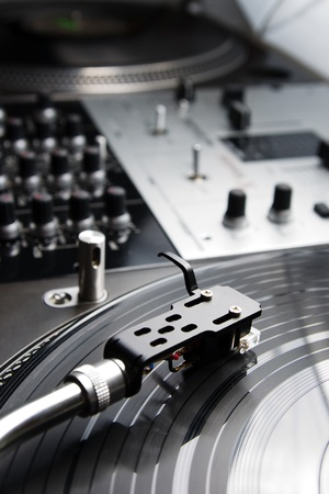 crossfader: Close shot of top class vinyl equipment for a hip-hop scratch dj