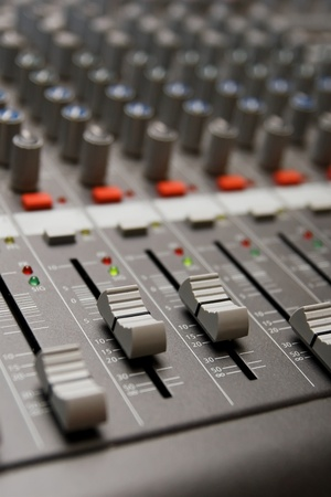 regulators: Close shot of professional audio recording equipment for multiple purposes Stock Photo