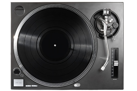turntable: Analog music player isolated on white